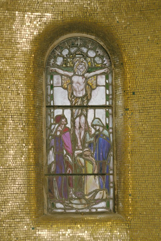 Interior, war memorial chapel, detail of stained glass window at north end