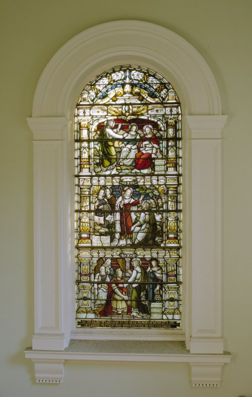 Interior, 1st. floor lobby, view of stained glass window at south end