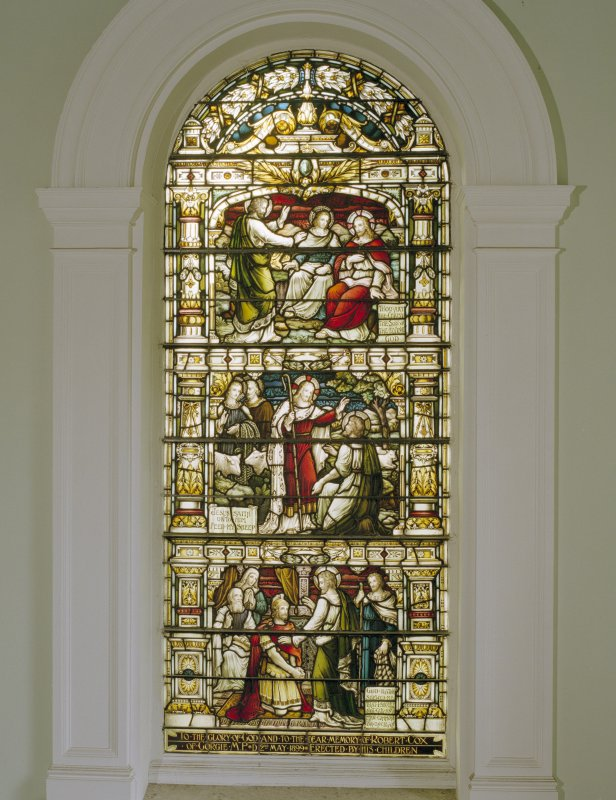 Interior, 1st. floor lobby, detail of stained glass window at south end