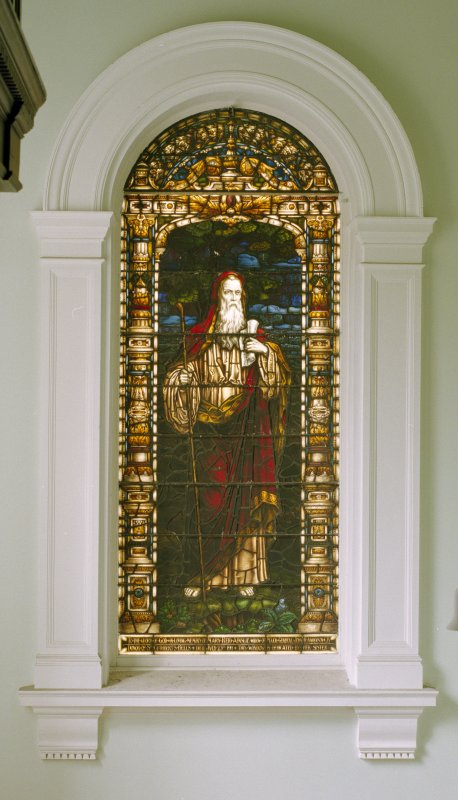 Interior, 1st. floor lobby, view of stained glass window at north end