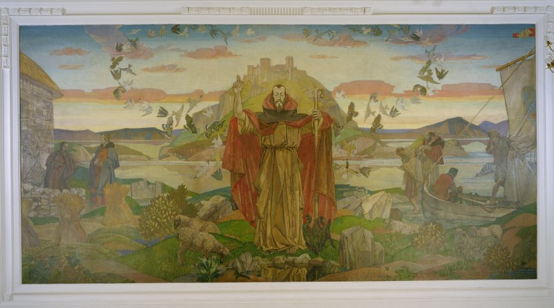 Interior of St Cuthbert's Church, Lothian Road, Edinburgh, 1st. floor, Lindisfarne Room, view of mural on west wall