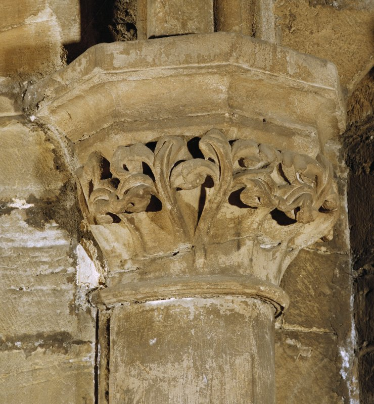 Interior. Detail of carved capital in S aisle.