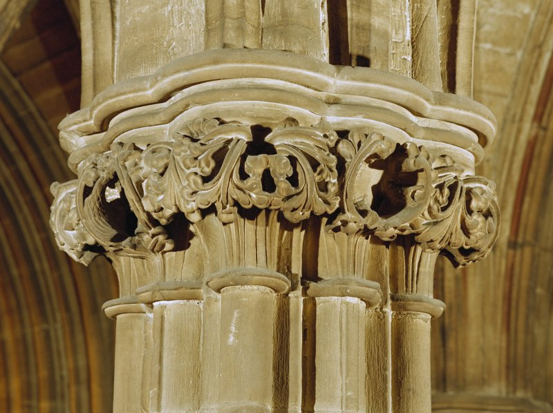 Interior St Mungo's Cathedral, Glasgow. Detail of carved capital.