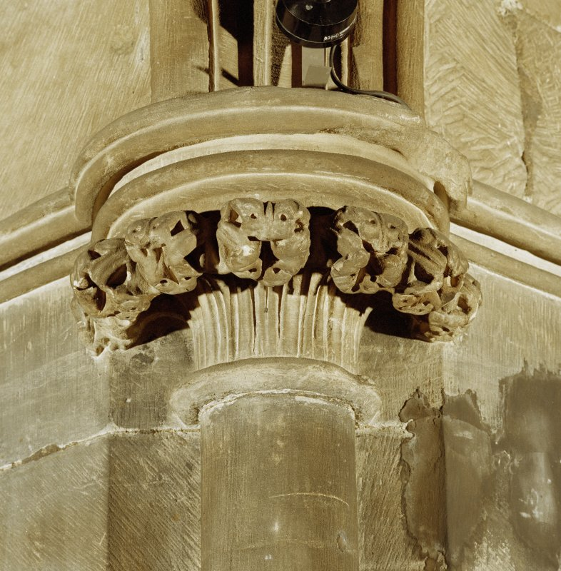 Interior. Detail of carved capital.