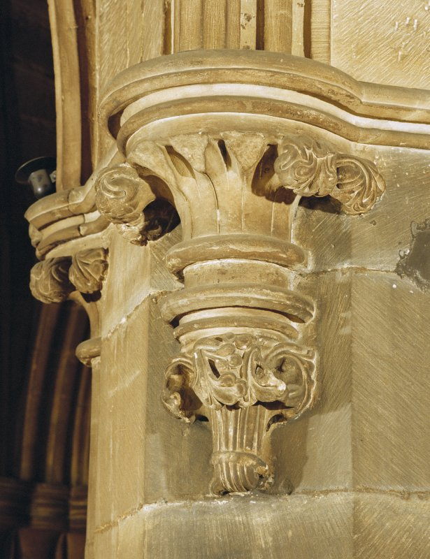 Interior. Detail of carved corbel.