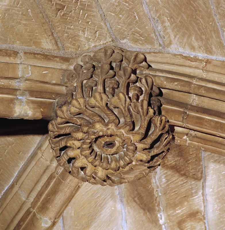 Interior. Detail of carved boss.