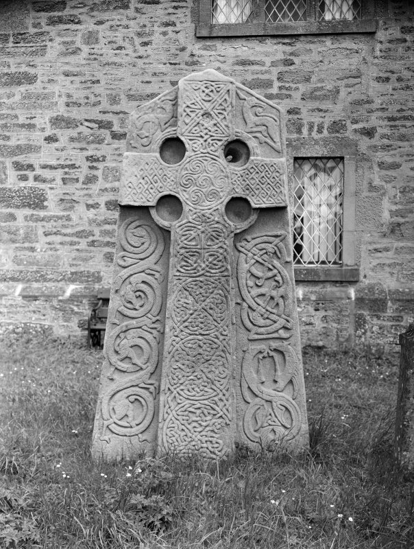 Aberlemno no 2, the Churchyard Stone, showing cross-bearing face of slab.