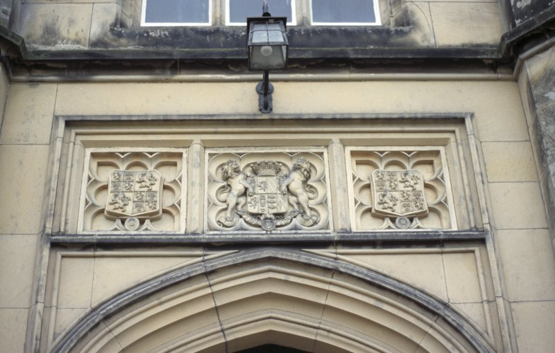 View of heraldic panels, above entrance to Dalmeny House.