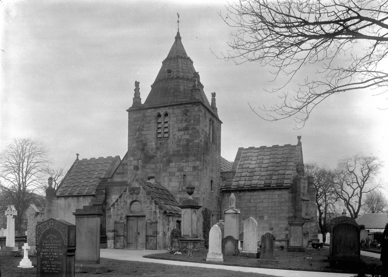 Edinburgh, Kirk Loan, Corstorphine Parish Church. General view from South-West, wide angle.