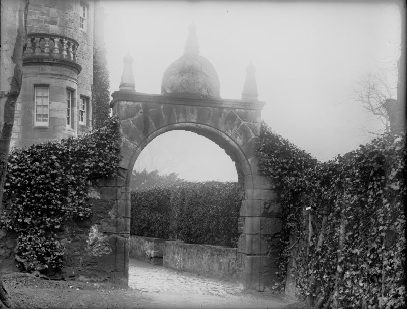 Craigcrook Castle. View of ornamented gateway.