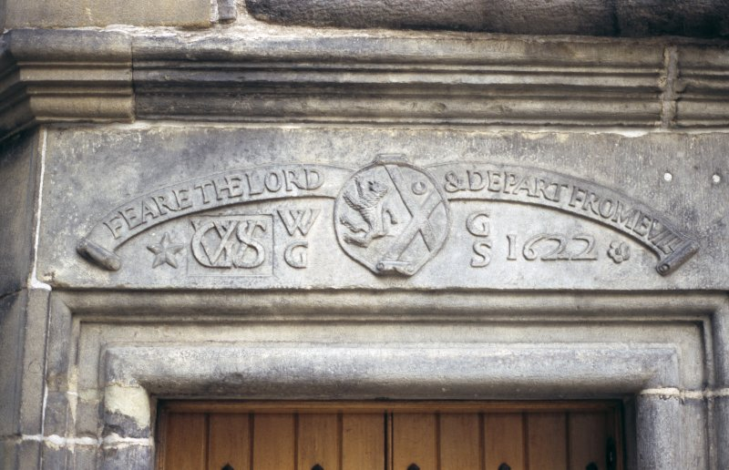 View of carved lintel above entrance to  Writers' Museum.