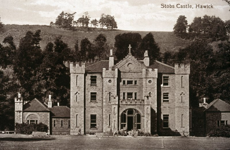 Stobs Castle. Historic photographic view of Stobs Castle.