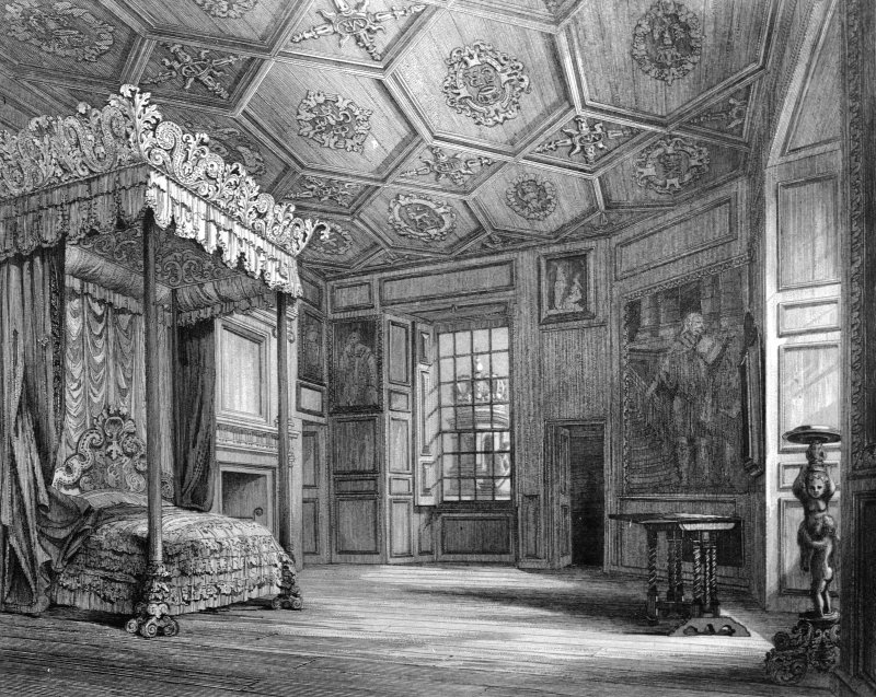 Photographic copy of an engraved view of the interior of Mary Queen of Scots' Bedroom. Copied from 'Baronial and Ecclesiastical Architecture of Scotland', R W Billings, 1852.