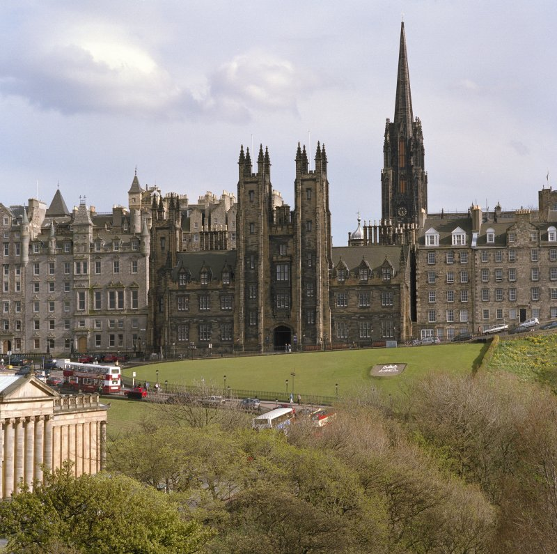 View Of New College & Assembly Hall, Mound, Edinburgh from New Club balcony from north