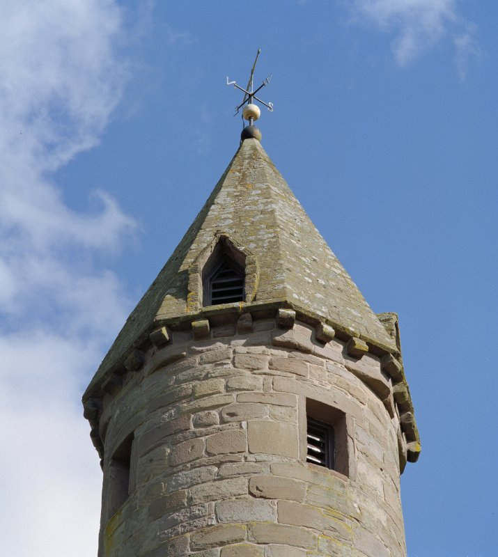 Detail of top of tower, Brechin Cathedral,  from NW.