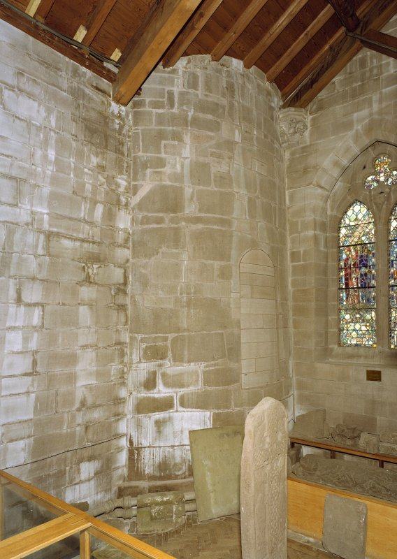 Interior. View of portion of round tower in W end of interior of cathedral.