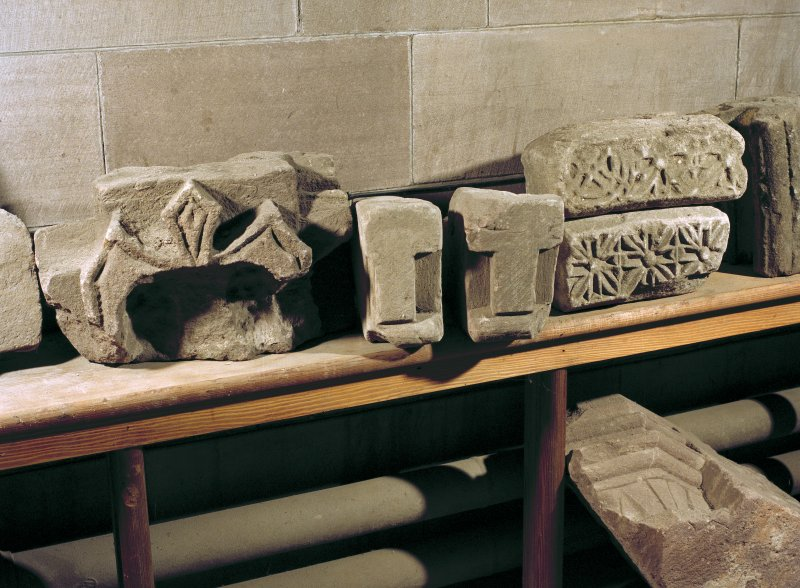 Interior. Detail of carved architectural fragments inside cathedral.
