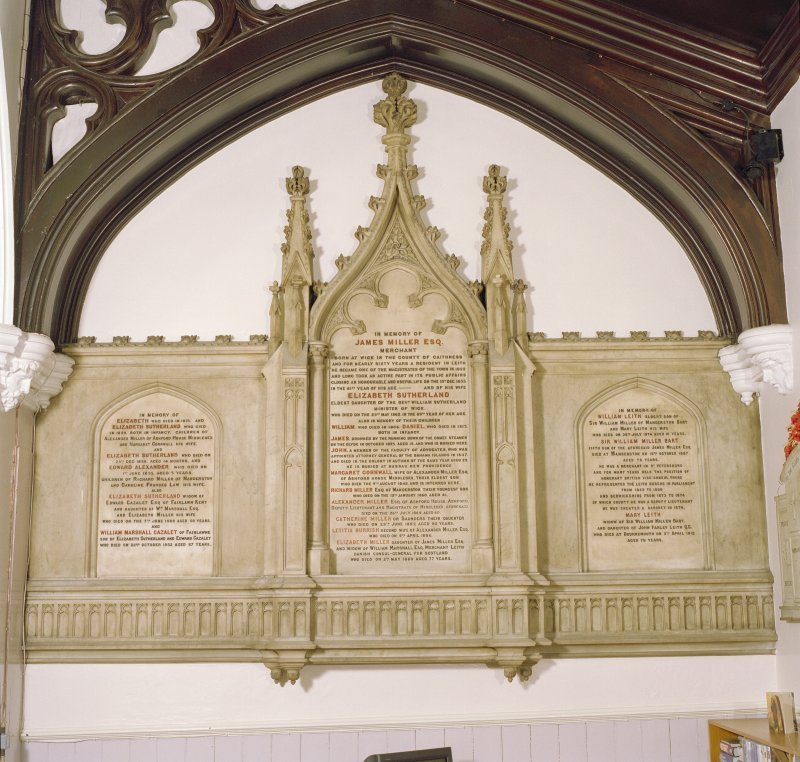 Interior, north aisle, view of monument to James Miller