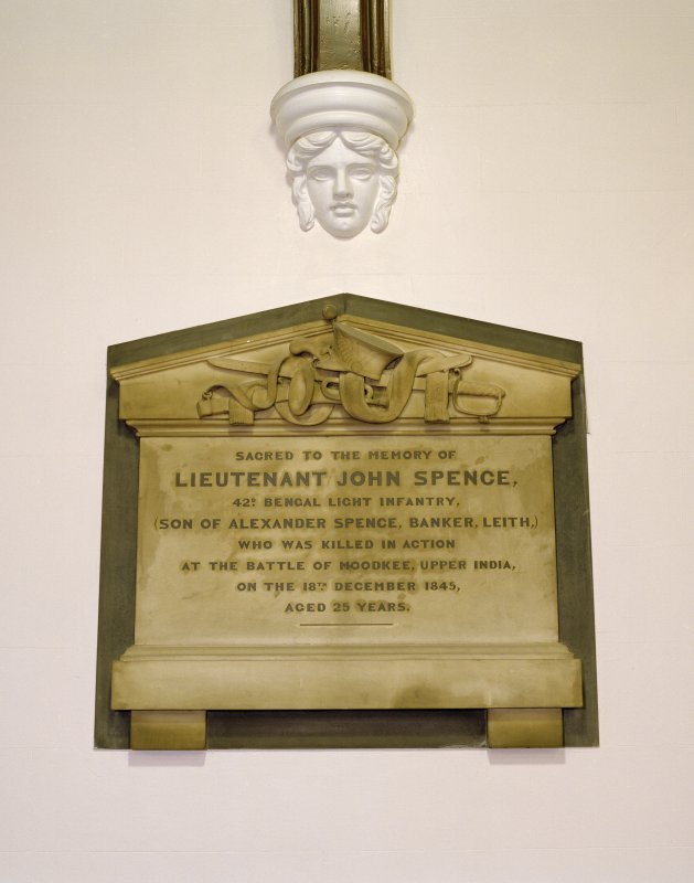 Interior, north aisle, view of monument to Lt. John Spence