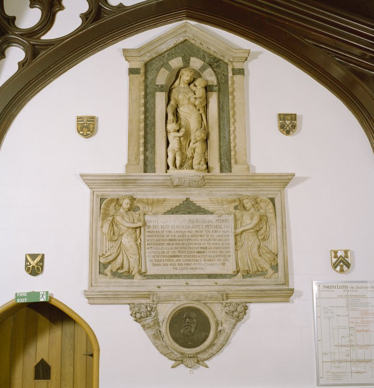Interior view of South Leith Parish Church, south aisle, showing monument to V. Rev. James Mitchell.