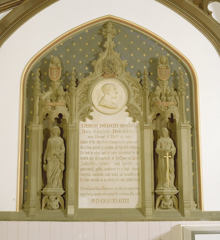 Interior of South Leith Parish Church, south aisle, view of monument to James Reoch