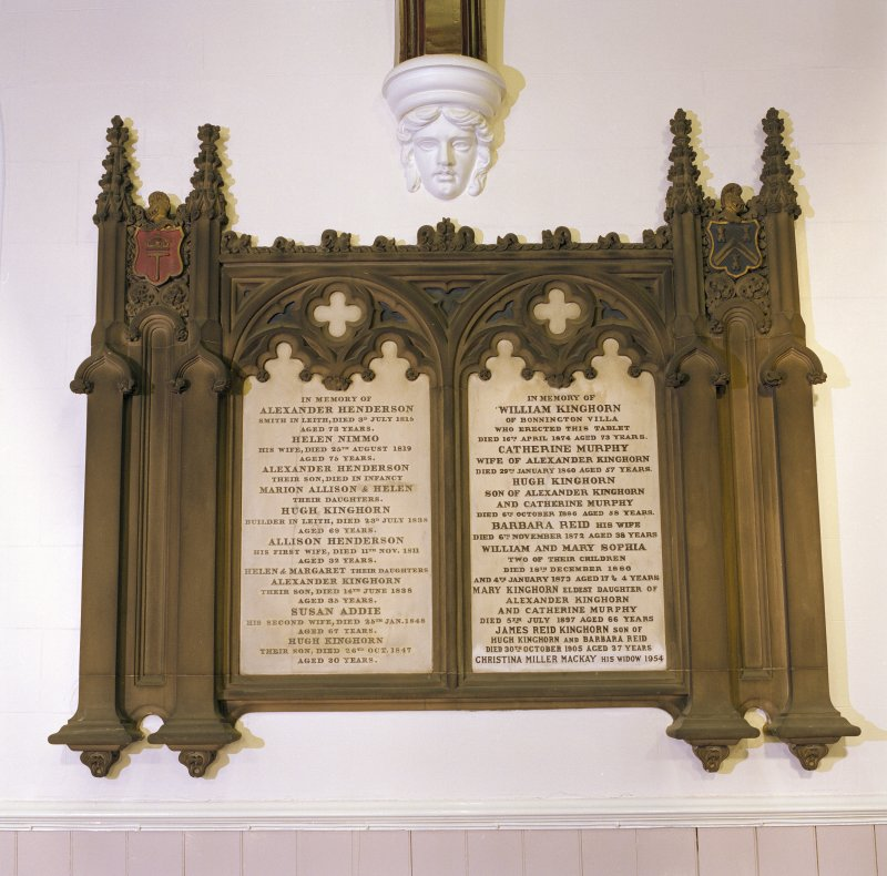 Interior, view of wall monument to Alexander Henderson and William Kinghorn