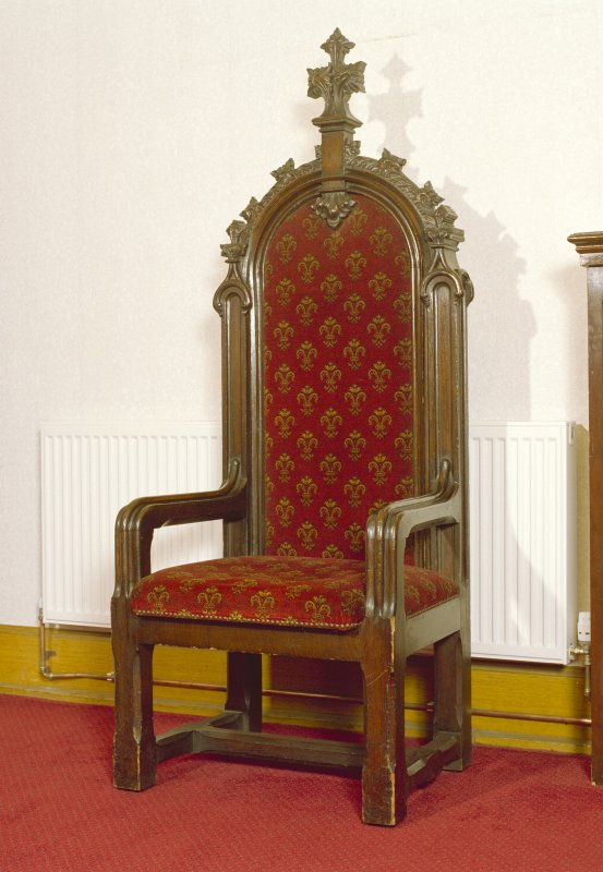 Interior, session room, detail of high backed chair