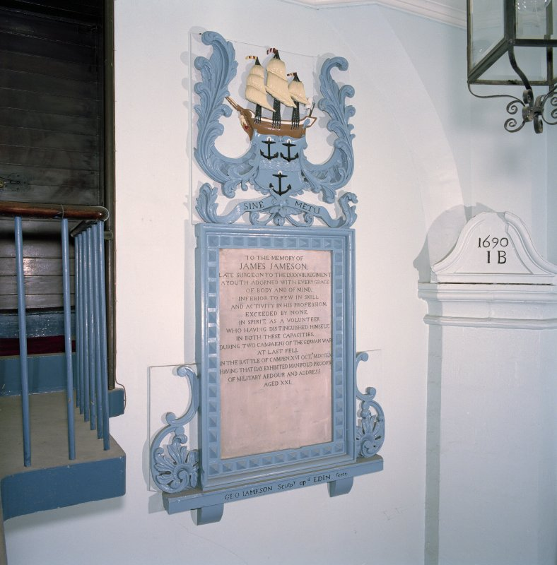 Interior, south east vestibule, view of monument to James Jameson