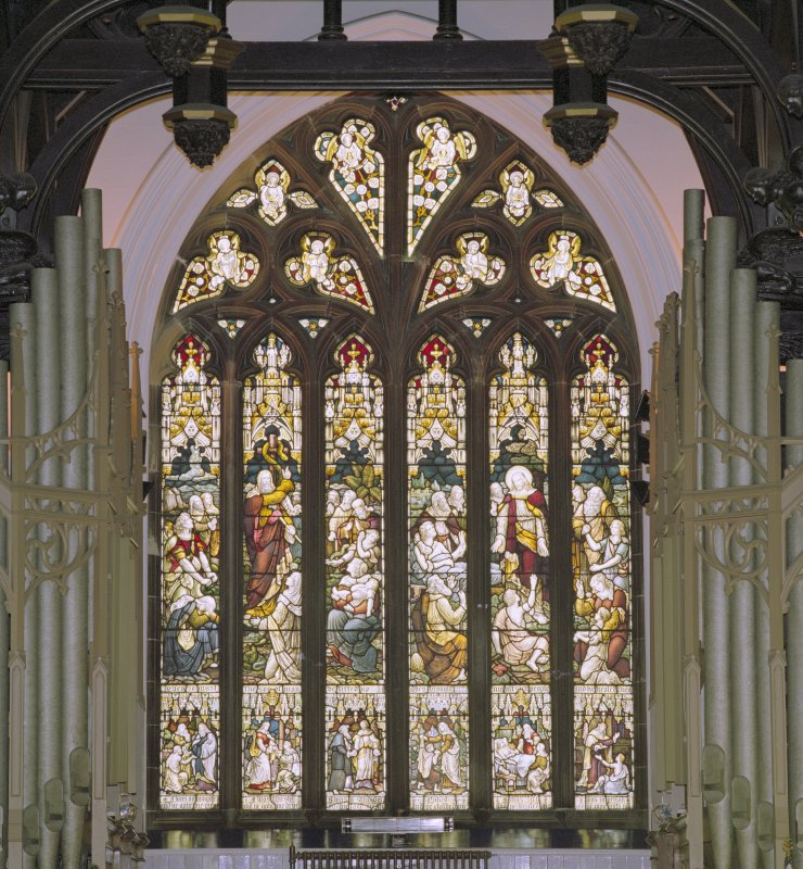 Interior, detail of stained glass window at west end