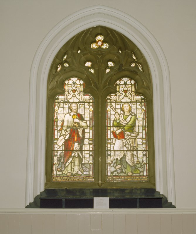 Interior, detail of stained glass window