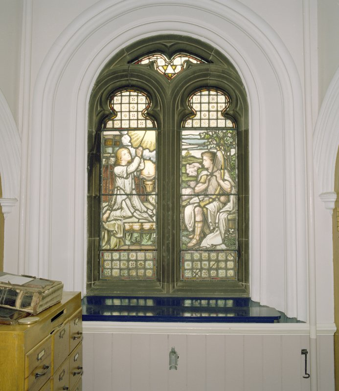 Interior, west vestibule, view of stained glass window