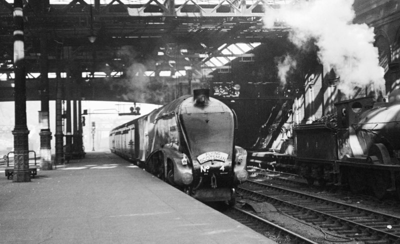 View of Pacific No A4, William Whitelaw on  platform 10 & 11, south side at Waverley Station, Edinburgh.