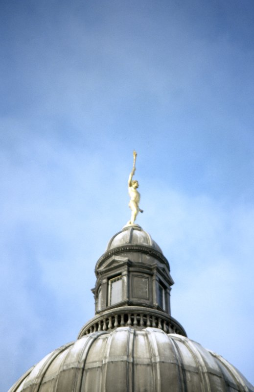View of sculpture of 'A Torch Racer', on top of dome.