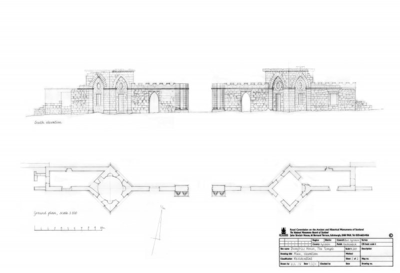 Dumfries House: The Temple; Ground plan and South Elevation