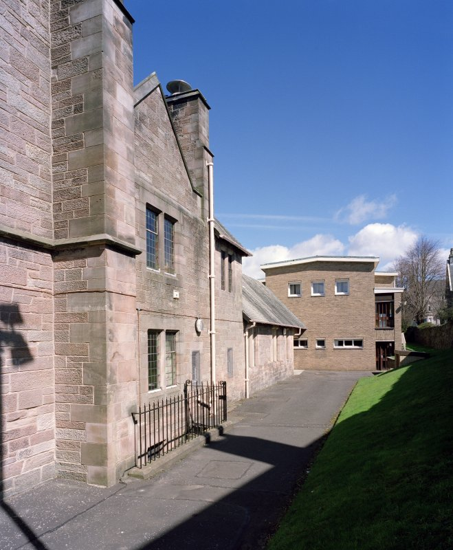 View of vestry, kitchen block and 1969 extension from south