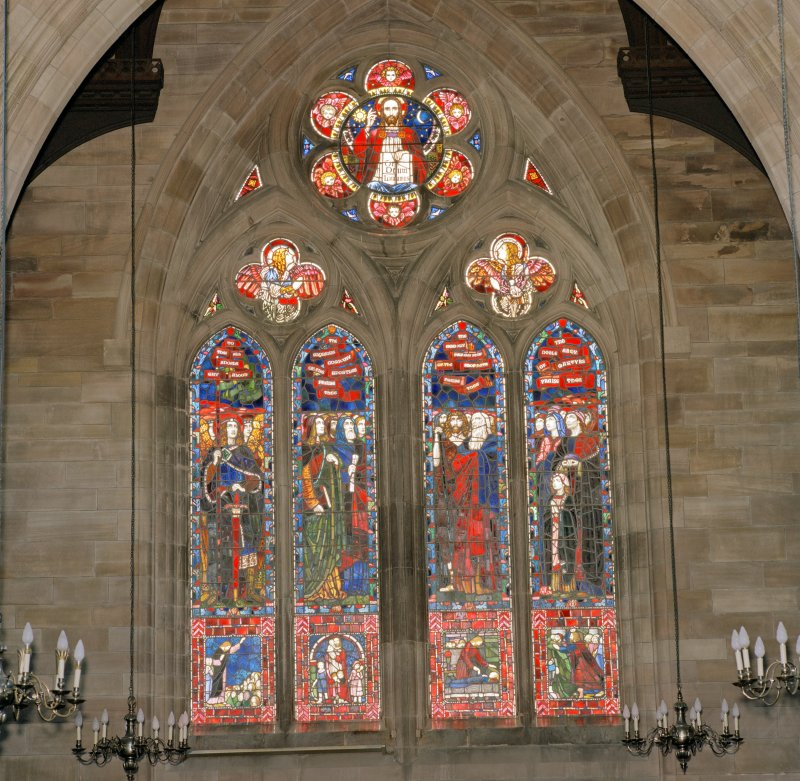 Interior.  View of stained glass window in south east wall