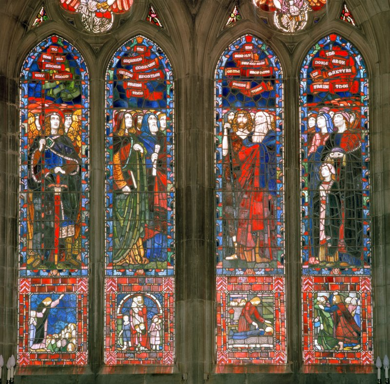 Interior.  Stained glass window in south east wall, detail of four main panels
