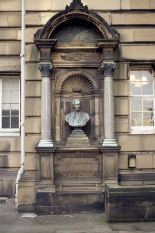 View of memorial to Archbishop Archibald Campbell Tait, in niche on wall of Medical School (in courtyard between McEwan Hall and Reid Concert Hall).