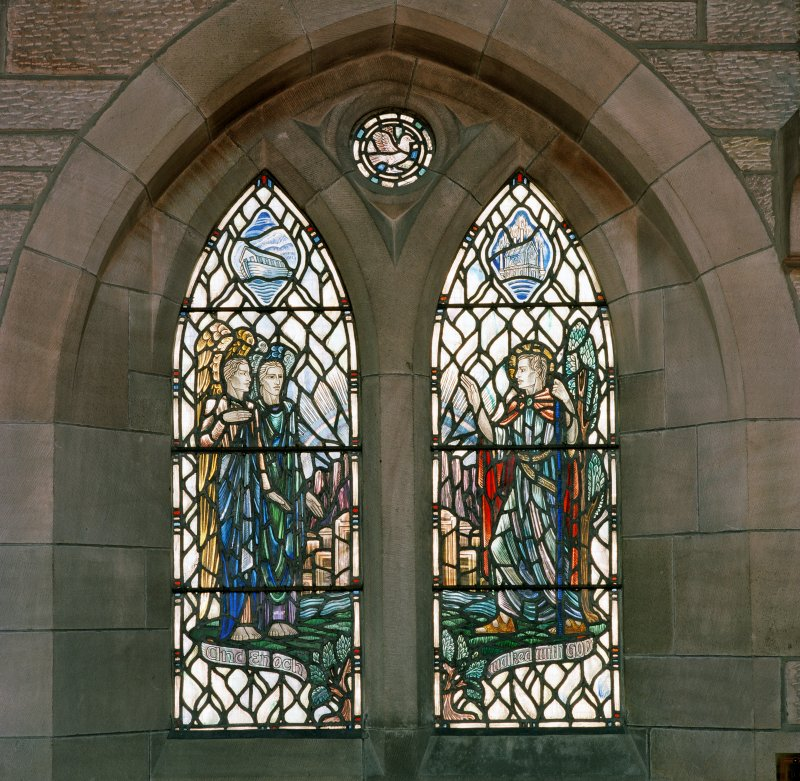 Interior.  View of stained glass window in north wall 'And Enoch walked with God'