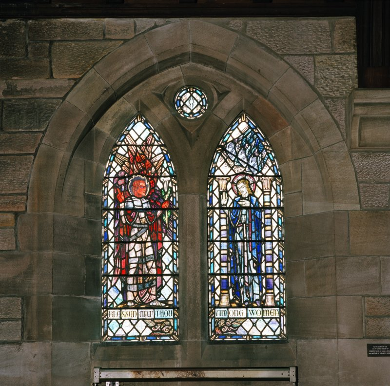 Interior.  View of stained glass window in south wall 'Blessed art thou among women'