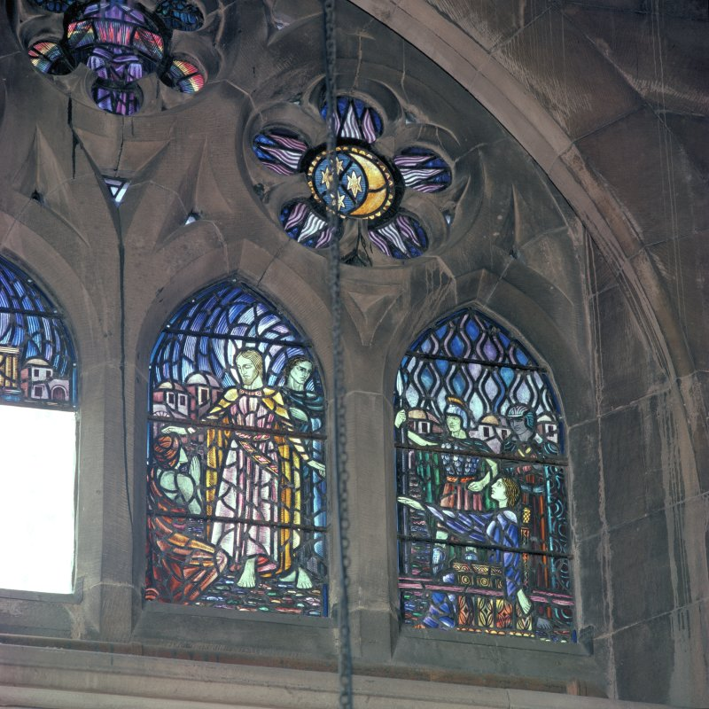 Interior.  Detail of stained glass window in north wall of chancel