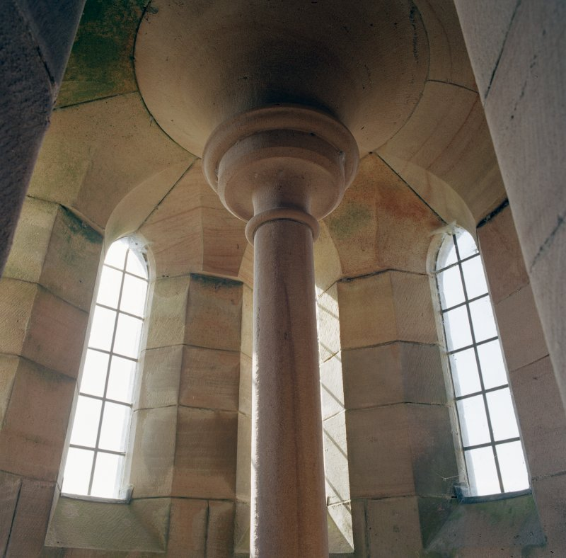 Interior.  Tower, detail of carved stone capital at top of stair