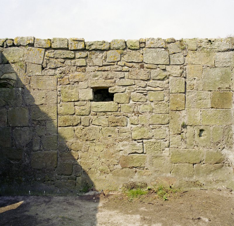 Interior of West wall, view from East.