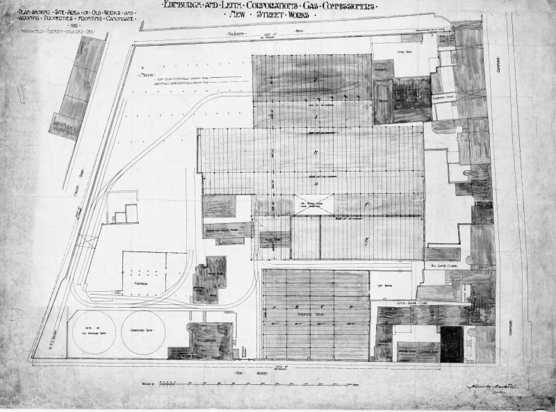 Edinburgh, New Street Gasworks Survey site plan Alex Masterson, Engineer E and LC Gas Commissioners, 'dep. by Scottish Gas 1980'