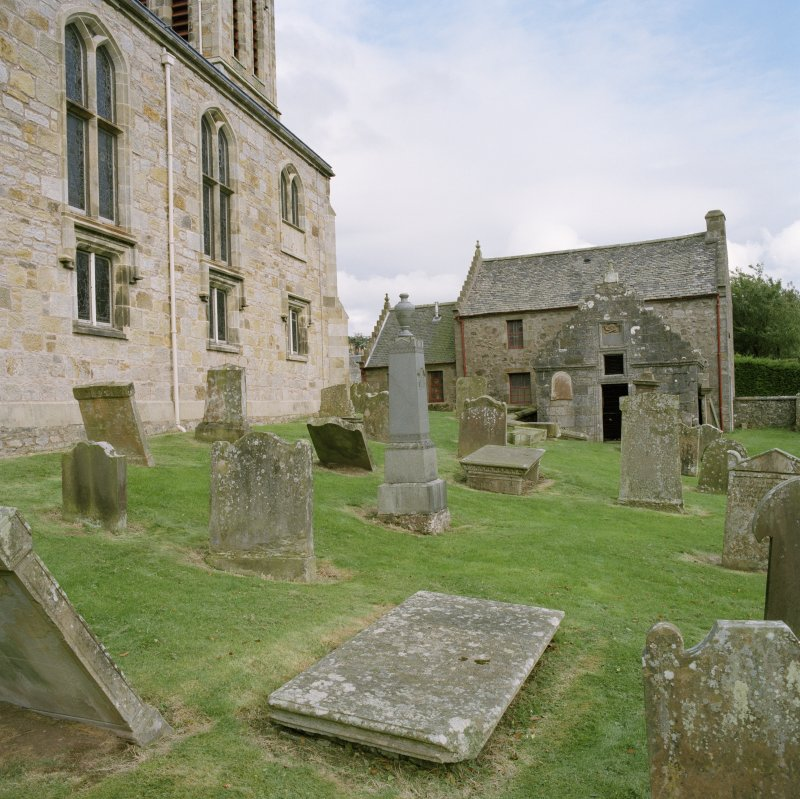 View with churchyard from west
