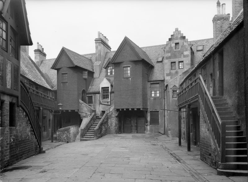 View of White Horse Close East buildings from courtyard.  Negative hand insc:'Whitehorse Close E Buildings Courtyard'.