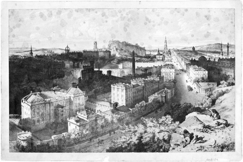 Edinburgh, Calton Hill, Observatory Road, Observatory. Photographic copy of lithograph showing view from hill.