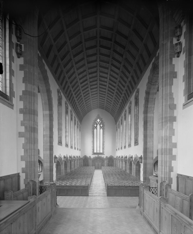 West Saville Terrace, Reid Memorial Church, interior. General view of Nave from Chancel.