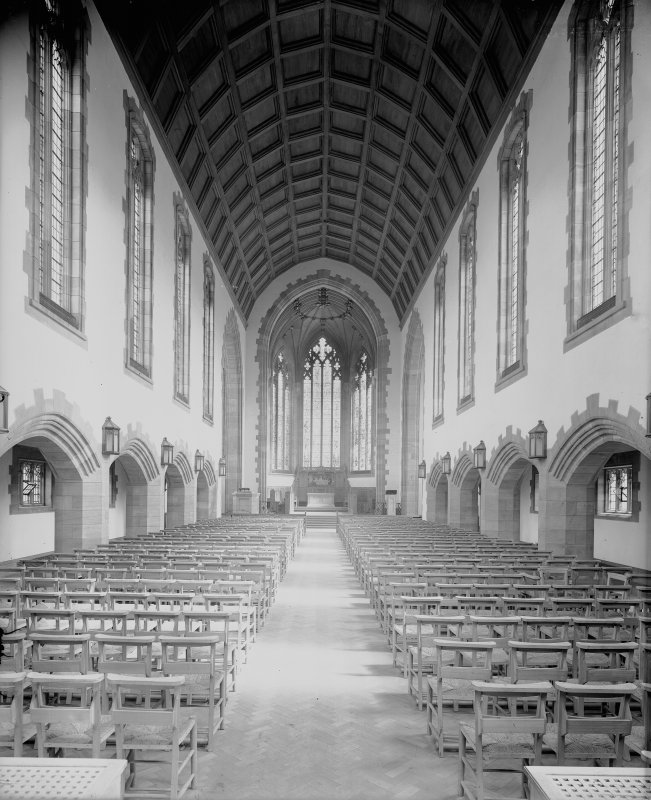 West Saville Terrace, Reid Memorial Church, interior. General view of Nave from West.