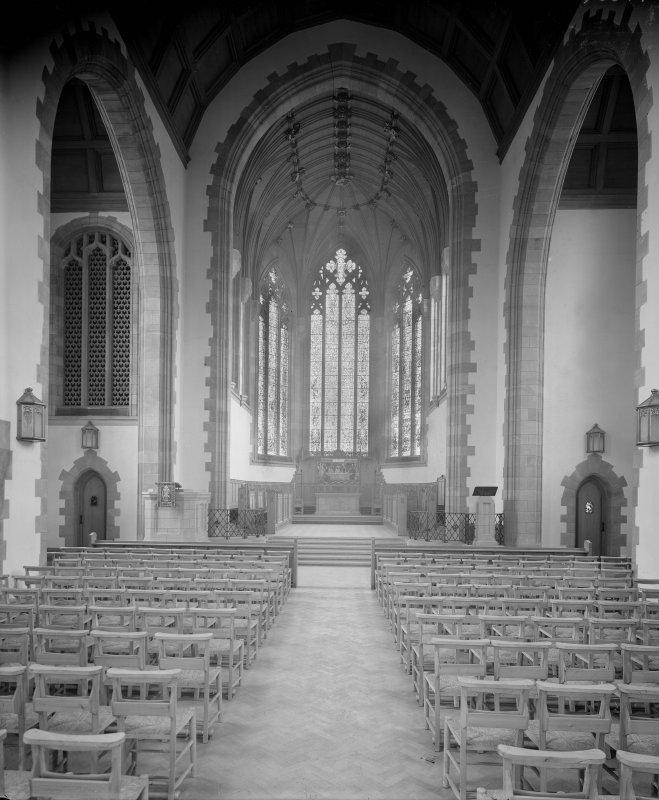 West Saville Terrace, Reid Memorial Church, interior. Genral view towards Chancel from West.